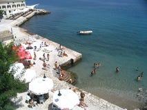 Strand op Korfu stock afbeelding