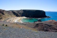 Strand op Lanzarote Stock Foto's