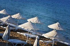 Strand op lindos Griekenland Stock Foto