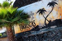 Strand op Tenerife, Kanarie, Spanje, Europa Royalty-vrije Stock Afbeeldingen