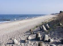 Strand, overzees en duinen Royalty-vrije Stock Afbeelding