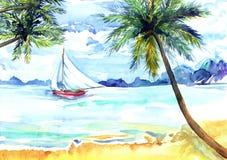 Strand, overzees, jacht Stock Afbeeldingen