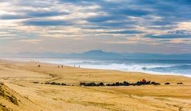 Strand på Atlanticet Ocean nära Seignosse - Frankrike Arkivfoto