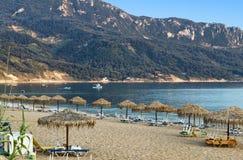 Strand på den Korfu ön i Grekland Arkivfoto