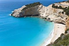 Strand på den Lefkada ön i Grekland. Royaltyfri Fotografi