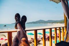 Strand på den Palolem stranden, Goa royaltyfri fotografi
