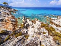 Strand på Halkidiki, Sithonia, Grekland Royaltyfri Foto