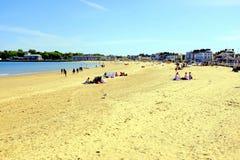 Strand på lågvatten, Weymouth, Dorset, UK Arkivfoton