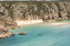 Strand på Porthcurno, Cornwall, England Royaltyfri Fotografi