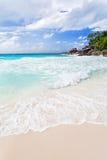 Strand på Praslin Royaltyfria Foton