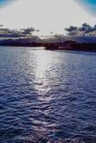 Strand på solnedgången i Europa royaltyfri fotografi