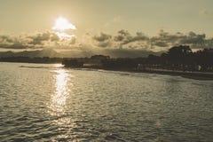 Strand på solnedgången i Europa royaltyfria foton
