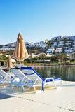 Strand på turkisk semesterort Royaltyfri Bild