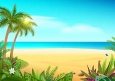 Strand, palmträd och hav för tropisk paradisö sandig stock illustrationer