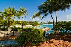 Strand in Paradies-Insel, Bahamas Stockfotografie