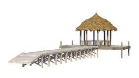 Strand Pavillion der Wiedergabe-3D auf Weiß Stockfotografie