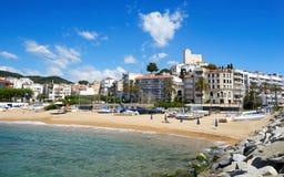 Strand Platja de Les Barques in Sant Pol, Spanien Lizenzfreie Stockfotografie