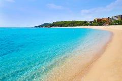 Strand Platja Fenals in Lloret de Mar Costa Brava Stockfotos