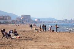 Strand in Playa De Oliva, Spanien Stockfoto