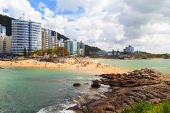 Strand Praia DA Costa en Praia DA Sereia, Vila Velha, Espirito S Stock Foto's