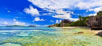 Strand-Quelle d'Argent bei Seychellen Stockfotografie