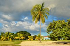 Strand Rancho Luna, Cienfuegos i Kuba arkivbilder