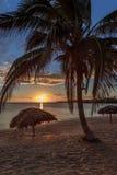 Strand Rancho Luna Karibisches Meer mit Palmen und Strohregenschirmen auf dem Ufer, Sonnenuntergangansicht, Cienfuegos, Kuba stockbild