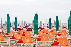 Strand in Rimini in koude dag. Italië. Royalty-vrije Stock Afbeeldingen