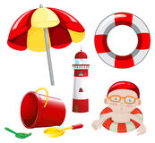 Strand in rode toon wordt geplaatst die Stock Foto's