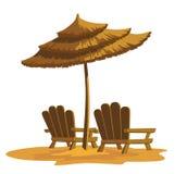 Strand rustende stoelen Royalty-vrije Stock Afbeeldingen