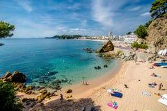 Strand Sa Caleta in Lloret de Mar, Spanje Royalty-vrije Stock Afbeeldingen