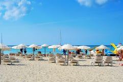 Strand Ses Illetes in Formentera, die Balearischen Inseln, Spanien Stockfoto