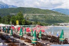 Strand Slovenska-Piazza in Budva, Montenegro Stockbild