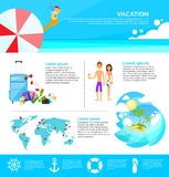 Strand-Sommer-Ferien-Tourismus-Netz Infographic lizenzfreie abbildung