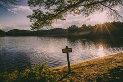 Strand-Sommer-Sonnenuntergang in Brown-Flächen-Teich, Adirondacks Stockfotografie