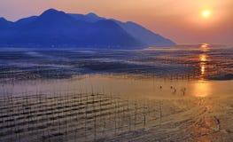 Strand-Sonnenaufgang Fujian-Xiapu, China Stockfotografie