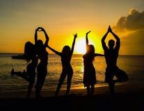 Strand-Sonnenuntergänge und Schattenbilder Stockfotografie