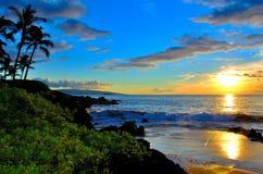 Strand-Sonnenuntergang Mauis Hawaii mit Palmen Lizenzfreie Stockfotos
