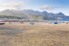 strand stads- sicily Arkivfoto