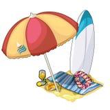 Strand stellte für aktiven Rest, Aufenthaltsraumbereich ein vektor abbildung