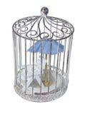Strand-Stuhl und Regenschirm im Birdcage Lizenzfreie Stockbilder