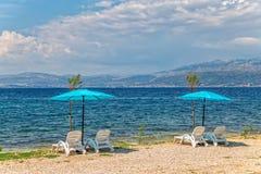 Strand in Supetar op eiland Brac Royalty-vrije Stock Afbeelding