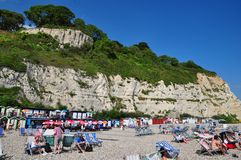 Strand-Szene am Bier, Dorset, Großbritannien stockbild