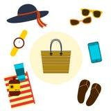 Strand-Tasche Auch im corel abgehobenen Betrag Lizenzfreie Stockfotografie