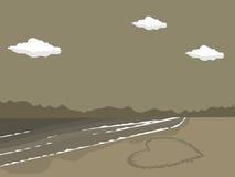 strand tecknad hjärtasand Royaltyfri Bild