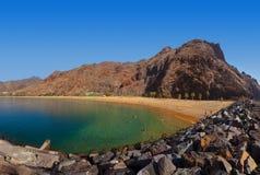 Strand Teresitas i Tenerife - kanariefågelöar Arkivbilder