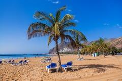 Strand Teresitas i Tenerife - kanariefågelöar Royaltyfri Bild