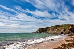 Strand Thurlestone Devon England för betesmarkfotsander Royaltyfria Foton