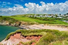Strand Thurlestone Devon England för betesmarkfotsander Fotografering för Bildbyråer