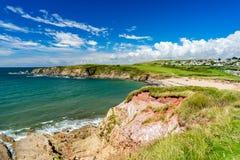 Strand Thurlestone Devon England för betesmarkfotsander Royaltyfri Fotografi